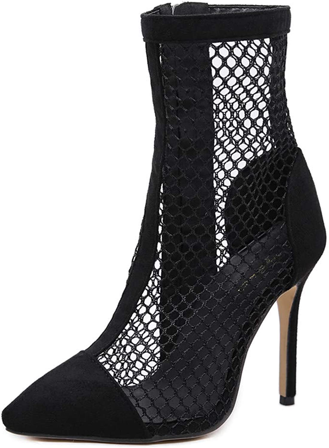 Tailisha Women's Fashion Ankle Boots - Mesh Gauze Hollowed Comfortable Pointed High Heel Booties Black