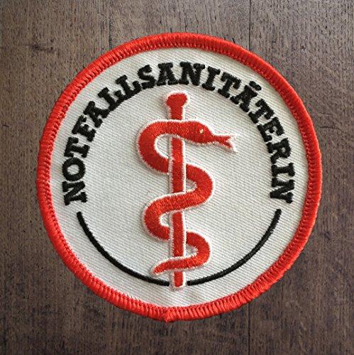 Notfallsanitäterin Stoffaufnäher/Patch Klett (8cm Durchmesser)|Rettungsdienst |DRK |Malteser |Johanniter |ASB |BRK