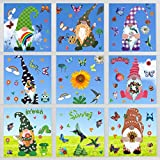 Unves Spring Window Clings for Glass Windows, 9 Sheets Gnome Easter Window Clings, Hummingbird Butterfly Summer Window Clings Stickers Decals for Home, Office, Kids School Party Supplies