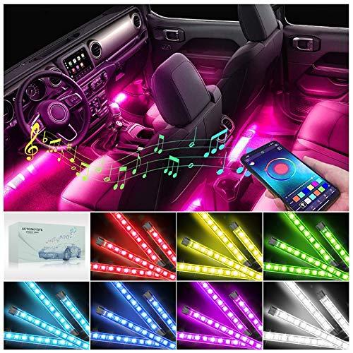 AUXIRACER LED Coche Interior Luces Tiras LED Coche RGB Luz Barras Kits de Atmosfera Lluminación LED Interior para Coche, APP Contro, Remoto, Música Multicolor | Impermeable |con 12V Cargador de Auto