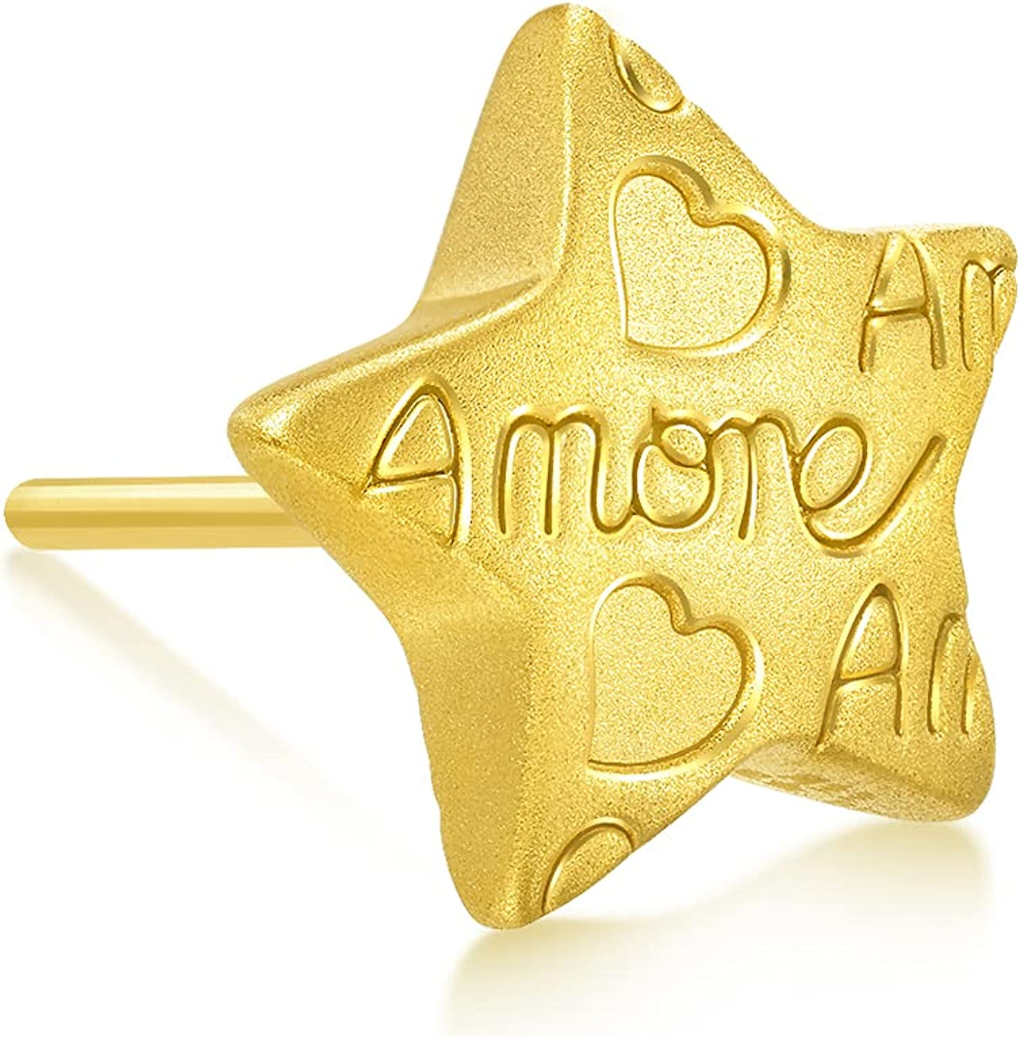 Chow Sang Sang 999 24K Gold Star with message 'Amore' Single Earring 92645E (Sold Single Not Pair)