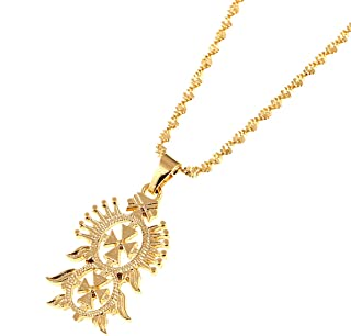 Old Ethiopian Gold Color Cross Pendant Necklaces for Women Men Ethiopian Eritrea Items