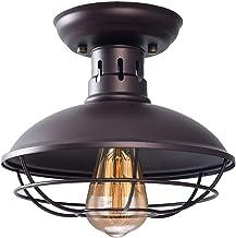 Industrial Metal Cage Ceiling Light, Rustic Mini Semi Flush Mounted Pendant Lighting..