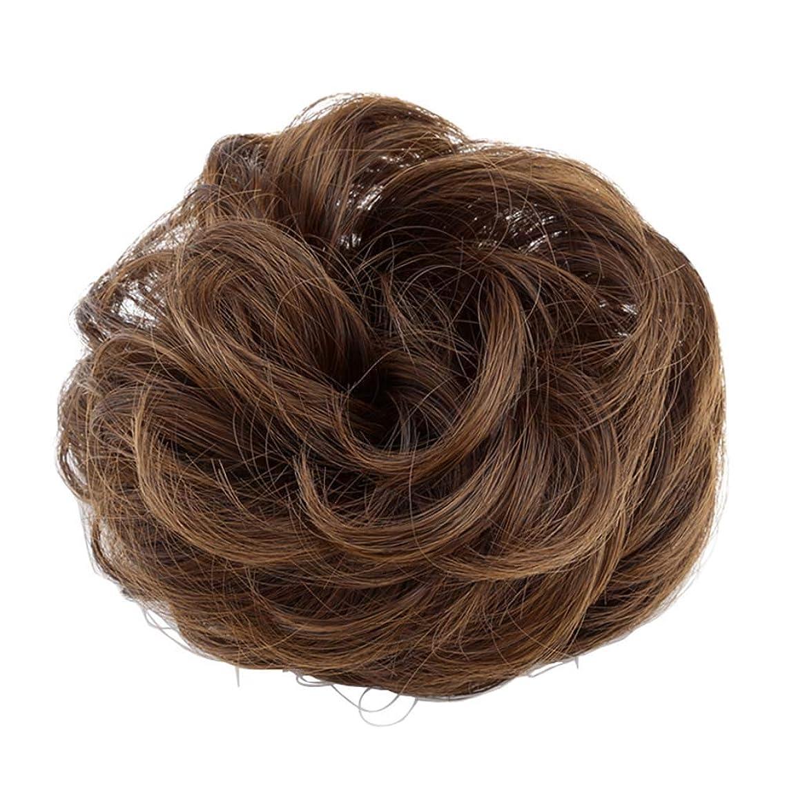 裁量すべき失業者弾性ヘアバンド短い髪型ツール偽の髪のバンズ結婚式ヘアピース(淡い茶色)