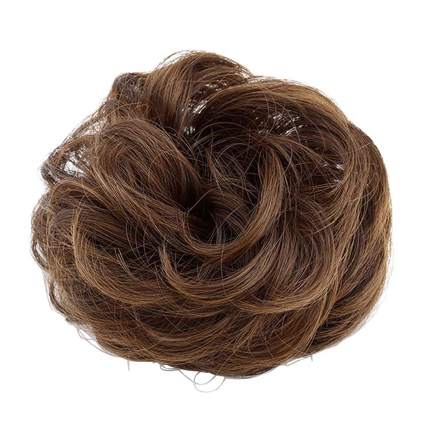 メンダシティ報酬土地弾性ヘアバンド短い髪型ツール偽の髪のバンズ結婚式ヘアピース(淡い茶色)