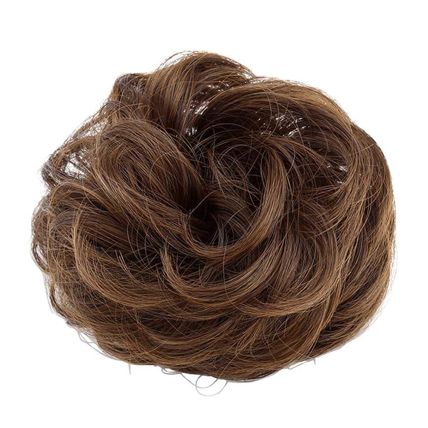チャレンジ産地推進、動かす弾性ヘアバンド短い髪型ツール偽の髪のバンズ結婚式ヘアピース(淡い茶色)