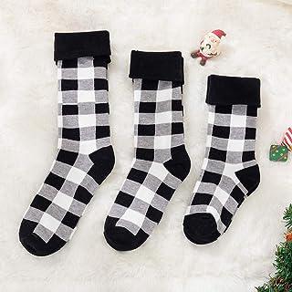 Quanyou, Calcetines de otoño e invierno para niños adultos, calcetines de Navidad para padres e hijos, 3 pares (hombres y mujeres adultos) (niños de 3 a 6 años) (niños de 0 a 3 años)