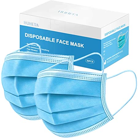 50 Pcs Disposable Face Mask 3-Ply Breathable & Comfortable Safety Mask, Protective Masks for Indoor and Outdoor
