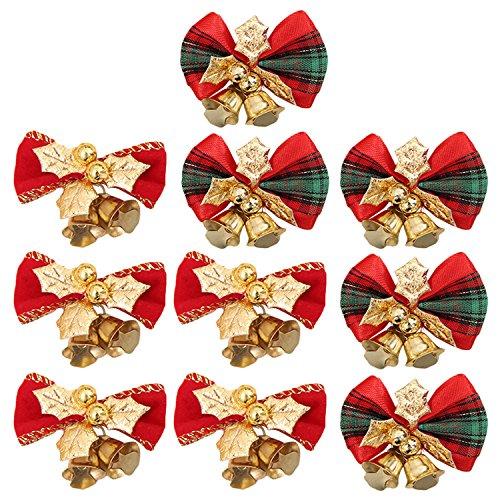 10 PCs ornements d'arbre de Noël d'arc avec la cloche pour des guirlandes d'arbre de Noël de réception de mariage