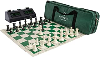 The House of Staunton US Chess Federation Supreme Triple Weighted Chess Set Combo Plus Zmart (ZMF-II) Digital Chess & Game Clock Tournament or Scholastic Bundle