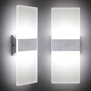 Lámpara de pared Interior 12W Moderna Apliques de Pared Blanco Frío,6000K Moda Agradable Luz de Ambiente perfecto para Lámpara de Decoración(2 pack)