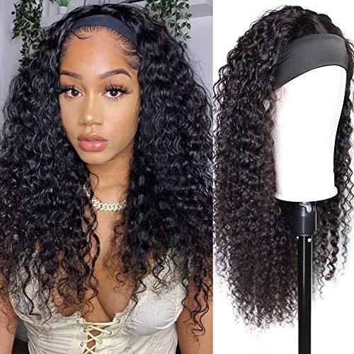 CYNOSURE Headband Wig Deep Wave Human Hair Wigs for Black Women 180% Density 9A Glueless Easy Wear Brazilian Remy Human Hair Scarf Wigs 18Inch Natural Black