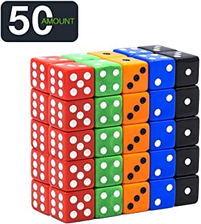 50 Pack Translucent & Solid 6-Sided Game Dice 5 Sets of Vintage Colors 16Mm Dice for Board Games & Teaching Math Dice Set Classroom Accessories Dice Set RPG Dice …