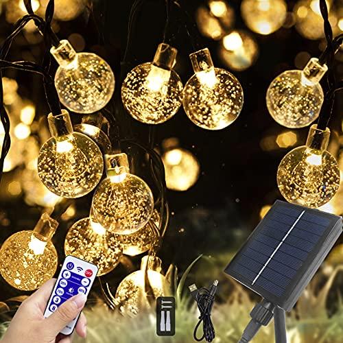 Solar Lichterkette Aussen, Lichterkette Außen Solar 7M 50LED 8 Modi Solar Kristall Kugeln Wasserdicht IP65 USB Lichterkette Außen Solar für Weihnachten, Garten, Terrasse, Bäume, Hochzeiten, Partys