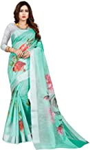 High Dreams Green Linen Saree