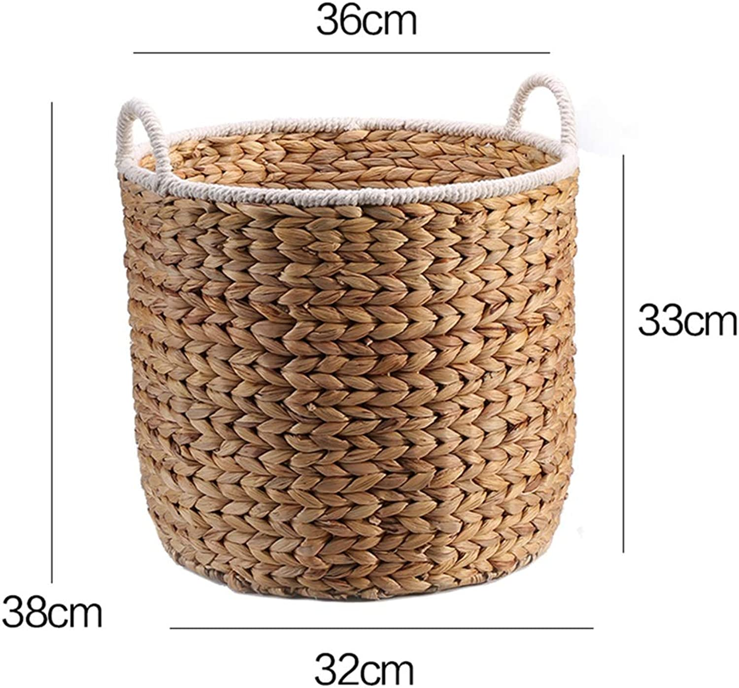 ZHANGQIANG Storage Basket Laundry Basket Rattan Laundry Hamper Multifunctional with Lid Hollow Household Storage Basket Wrought (color, Size   Large)