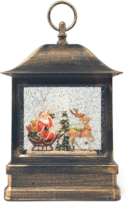 CBK-MS LED Weihnachtslaterne Weihnachtsmann im Schlitten Laterne mit Timer + Schneekugel Glitter Effekt Batteriebetrieb oder 230V mglich