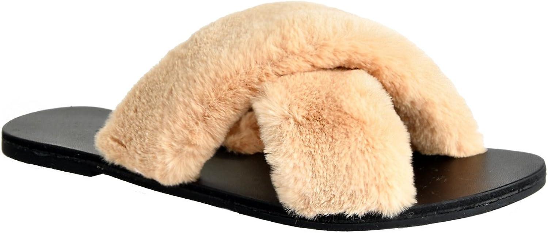 LUSTHAVE Fur Slide On Slip On Flip Flop High Fashion Slippers Criss Cross
