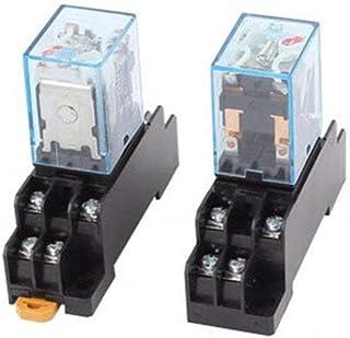 XJS 2 Pcs (AC220-240V) Coil 8Pin DPDT Electromagnetic Power Relay w Socket Base