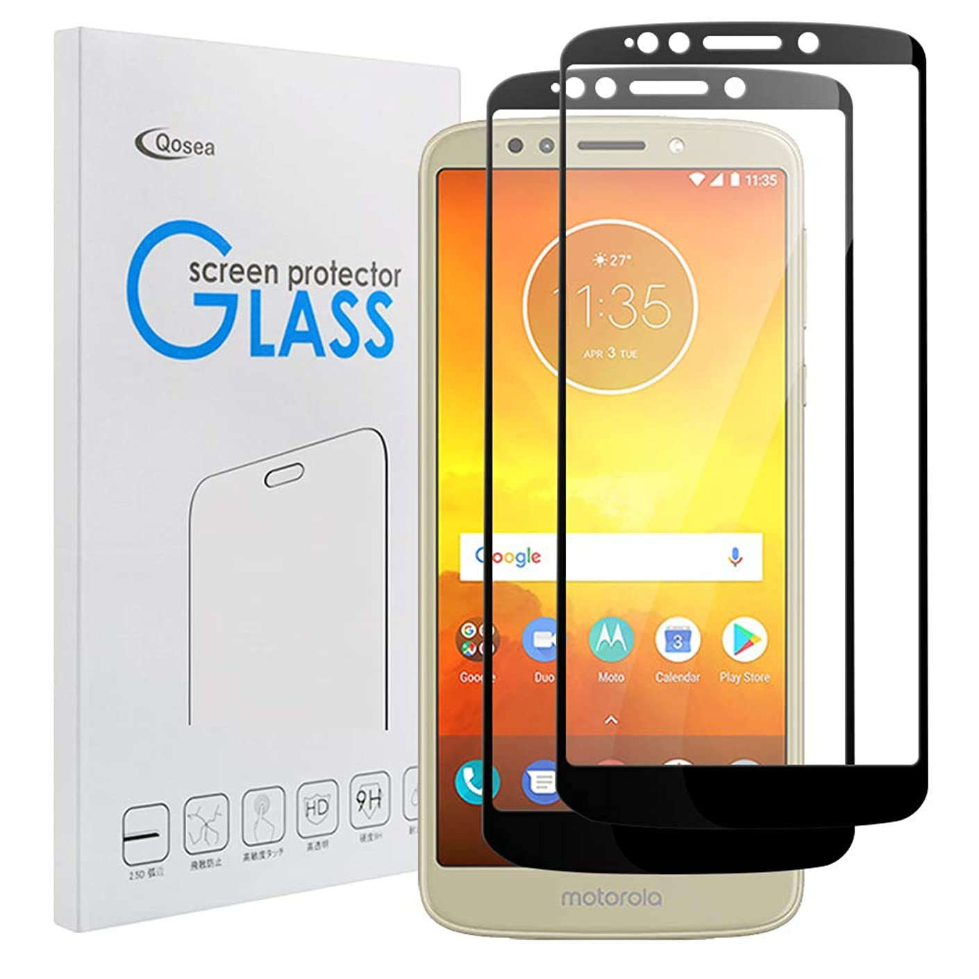 Qoosea Compatible with Moto E6 Screen Protector [2 Pack] Ultra-Thin 3D Full Coverage 9H Hardness Crystal Scratch Resistant Tempered Glass Compatible with for Moto E6
