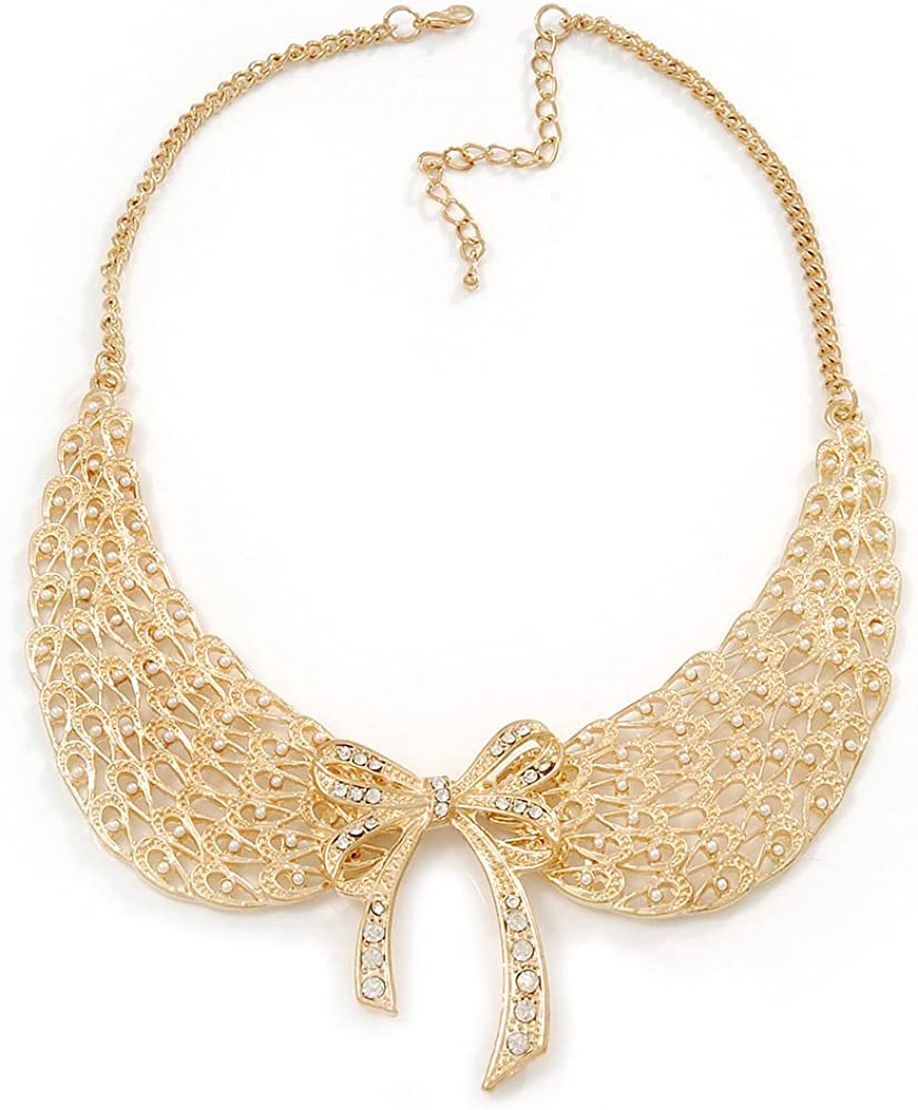 Angel Wings' Peter Pan Collar Necklace In Gold Plating - 38cm Length/ 6cm Extension