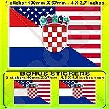 USA Vereinigte Staaten von Amerika und KROATIEN Hrvatska, Amerikanisch und Kroatisch Flagge, Fahne 100mm Auto & Motorrad Aufkleber, Vinyl Sticker x1+2 BONUS