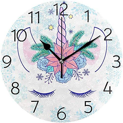 Hiver Licorne Magique avec Guirlande Florale Horloge Murale Silencieux Horloge Murale Ronde Fonctionne sur Batterie Non Tichant Creative Horloge Décorative