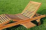 ASS 2X Hochwertige Teak Sonnenliege Gartenliege Strandliege Liegestuhl Holzliege Holz sehr robust - 4