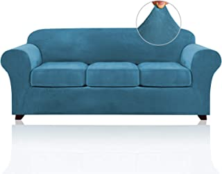 Best 4 Pieces Sofa Covers Stretch Velvet Couch Covers for 3 Cushion Sofa Slipcovers Thick Soft Sofa Slip Covers with 2 Non Slip Straps Furniture Covers with 3 Individual Seat Cushion Covers (Sofa, Blue) Review