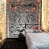 Raajsee Schwarz & Weiß Löwe tiger Wandteppich Mandala Queen (210x220cms) / Indisch Psychedelic Boho Hippie Wandbehang baumwolle Tapisserie / ein ideales Geschenk