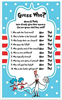 Dr. Seuss Baby Shower Game - Guess Who Mommy or Daddy