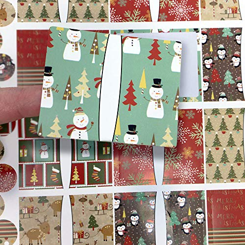 45 Cozy Christmas Poly Weatherproof Labels + 45 Round Stickers - for Essential Oil Aromatherapy Bottle or Lip Balm Labels by Rivertree Life