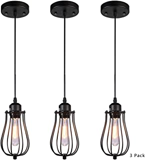 HOOOM Pendant Light Ceiling Mounted Chandelier Fixture, Kitchen Lighting Hanging Light Modern Industrial Edison Vintage Style ( 3 Pack Black NGDD-602)