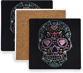 Large Square Drink Coasters,Rhinestone Studs Sugar Skull Ceramic Thirsty Stone With Cork Back Cup mats Protect Your Furniture From Spills, Scratches,Water Rings and Damage 2pcs