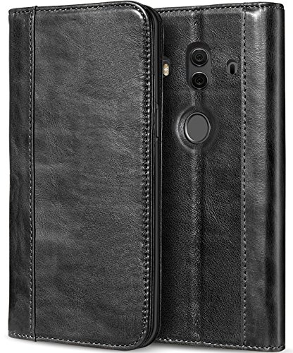 Huawei Mate 10 Pro Echtes Lederetui, ProHülle Vintage Brieftasche Klapp Flip Hülle mit Ständer & Multiple Card Slots Magnetverschluss Schutzhülle für Mate 10 Pro 6.0