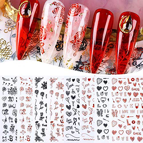 8 Sheets 3D Romantic Valentine's Day Nail Stickers Black Red Self Adhesive Love Heart Letter Rose Vine Abstract Face Images Cat Animal Nail Decal For Women Girl Nail Slider Art Decorations