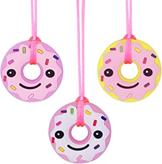 Sensory Chew Necklace for Kids, Girls (3 Pack) - Oral Sensory Chew Toys Teether Necklace Chewing Necklace Teething Necklace - Designed for Autism, ADHD, Oral Motor Girls - BPA Free & Durable