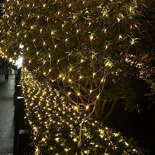 Guirnaldas Neta Luz ExteriorBlanco cálido 8 Modes Impermeable de luz de Red con Energía Iluminación para Navidad Decoración Interior Exterior con conector (6 * 4m / 880LED, blanco cálido)
