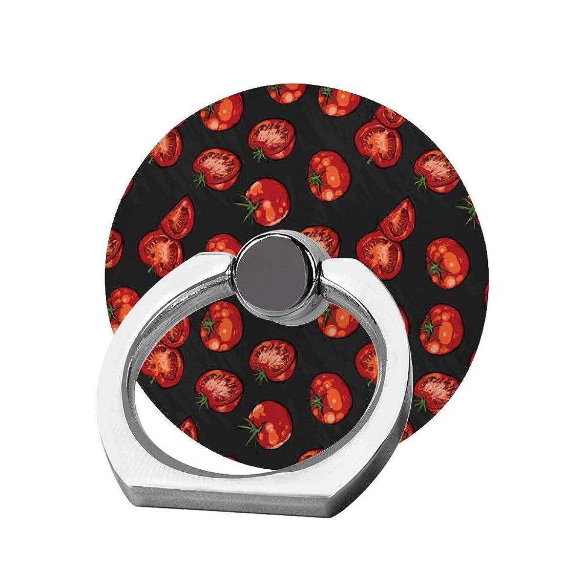 廃止アラバマ落胆したスマホリング 携帯リング 指リング 薄型 落下防止 スタンド機能 トマト柄 バンカーリング 指輪リング タブレット/各種他対応 360回転 スマホブラケット