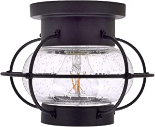 SYLVANIA General Lighting Sylvania 60115 Essex Cage Light Vintage Fixture, LED, Semi-Flush Mount, Dimmable Bulb Included, Antique Black - California Compliant