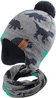Duoyeree Kids Beanie Hat for Boys Girls Pom-pom Kint Hats Cozy Lining Winter Skull Cap (Dinosaur Hat and Scarf Set, 2T-4T)