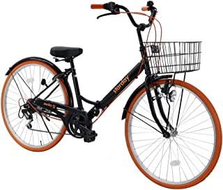 折りたたみシティサイクル 折りたたみ自転車 シマノ製6段変速 26インチ 前カゴ付き 自転車 ダイナモライト付き 後輪サークル錠 折畳機能付 シティサイクル SY-20