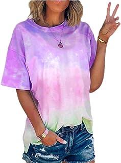 Women Gradient Short Sleeve Tie Dye Blouse T Shirts Tunic Tees