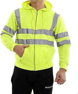 RIDDLED WITH STYLE Boys Hi Viz Vis Pullover Sweatshirt Mens Zip Up Hooded Hoodie Fleece Jacket