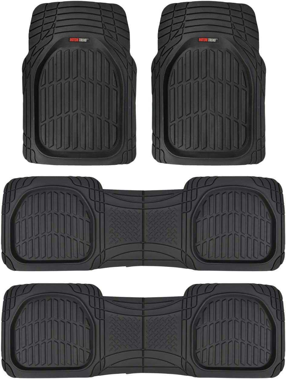 Motor Trend Original FlexTough Black Rubber Car Floor Mats for 3 Row Vehicles – Deep Dish All Weather Automotive Floor Mats, Heavy Duty Trim to Fit Design, Odorless Floor Liners for Cars Truck Van SUV