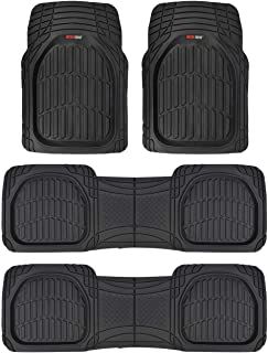 Motor Trend MT-923-920 Black FlexTough Contour Liners-Deep Dish Heavy Duty Rubber Floor Mats for 3 Row Car SUV Truck & Van-All Weather Protection