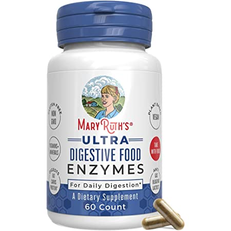 Ultra Vegan Digestive Food Enzymes (GMP Certified + Tested) by MaryRuth's - Daily Digestion Enzyme Complex - Amylase, Lipase and Lactase + Cofactor Vitamins & Minerals - Plant Based Non-GMO - 60 count