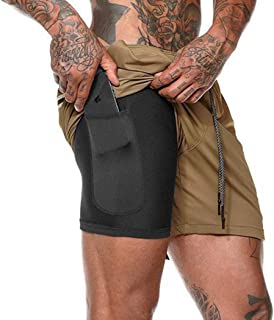 SIMANLI Mens Shorts Compression Shorts 2 in 1 Fitted Bodybuilding Athletic Gym Running Shorts with Built-in Pocket Liner