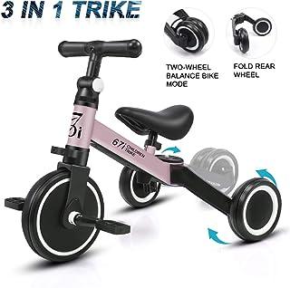 KORIMEFA 3 EN 1 Trciciclo Infantil para Niños Bicicleta de Balance con Pedales Desmontables Triciclo Plegable
