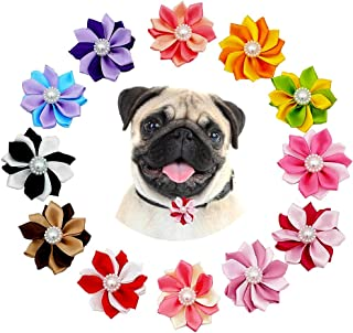 JpGdn 12pcs Dog Collar Charms for Small and Medium Puppy Doggy Animals Sliding Collar Bow Ties Grooming Accessories Collar Flowers Attachment